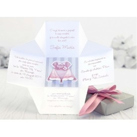 Invitație botez tip cutie 3D - fetiță - 15513 -  NBC Events